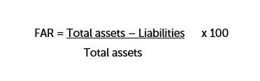 Free Asset Ratio = ((Total assets - Liabilities)/Total Assets) x 100
