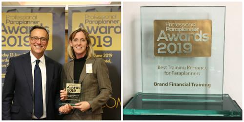 Ann Mora accepting Paraplanner's Best Training Resource Award on behalf of Brand Financial Training