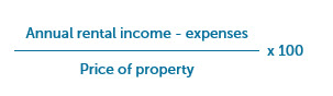 (Annual rental income - expenses) divided by the price of the property then multiplied by 100